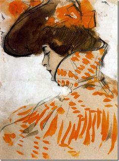 Ramon Casas i Carbó - Busto dama, 1900