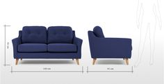 Rufus 2 Seater Sofa, Dark Cobalt Blue | made.com