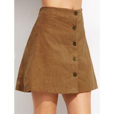 Khaki Corduroy Single Breasted A Line Skirt (€11) ❤ liked on Polyvore featuring skirts, khaki, short brown skirt, short a line skirt, brown skirt, khaki a line skirt and khaki knee length skirt