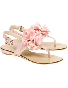 Lovely Pink PU Leather Flower Decoration Slingback Women's Thong Beach Sandals