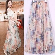 Summer 2014 Fashion Skirts Womens Bohemian Chiffon Beach Long Maxi Skirt Floral Casual Skirts+ Free shipping