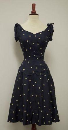 1940's Silk Navy Polka Dot Full Swing Skirt Cinch Waist Vintage Sundress by inez