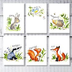 Items similar to Woodland animals nursery print decor set on Etsy Woodland Animal Nursery, Woodland Animals, Unique Christening Gifts, Name Pictures, Name Art, Nursery Prints, Watercolor Print, Paper Texture, Custom Design