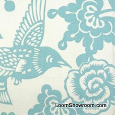 DSO145 Thomas Paul Modern Graphic Silouhette Print Bird Floral Woodcut Heavy Cotton Linen Fabric Robin
