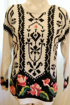 Vintage Sweater Rebecca Stone Long Sleeve Rose Embroidery Shoulder Pads Size S #RebeccaStone #ScoopNeck