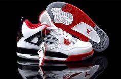 b85e51e402ba84 Nike Air Jordan 4 Women Sneakers White and Varsity Red Black 298
