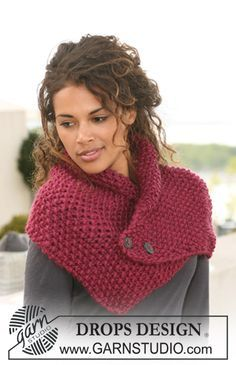 DROPS neck warmer in seed st in Eskimo. Free knitting pattern by DROPS Design. Poncho Knitting Patterns, Easy Knitting, Knit Patterns, Finger Knitting, Knitting Tutorials, Knit Cowl, Crochet Poncho, Crochet Scarves, Knitting Scarves