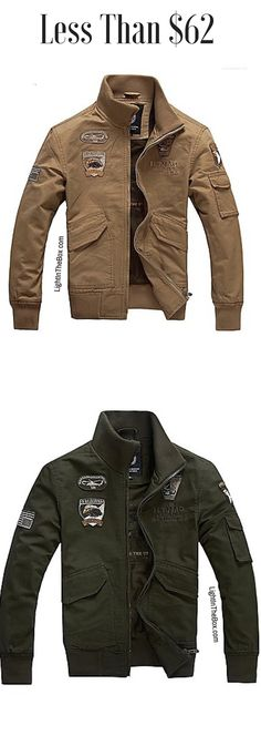 Fancy stylish casual sporty men jacket. Perfect for fall/ autumn and spring. Find it in brown, black and green khaki colours at $61.99.