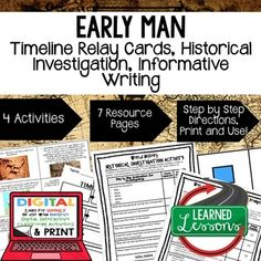 World History Early Man Timeline & Writing Activities Paper & Google Drive