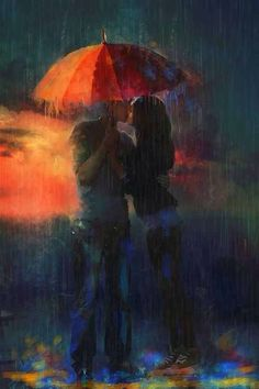 How to be Mega-Attractive to a Man, even if you are not his type. Bucket List: Kissing under an umbrella, oblivious to the rain ~ Belle Claudia Lucia McKinney ~ Cover artist The Kiss, Rain Art, Umbrella Art, Pictures To Paint, Painting Pictures, Vincent Van Gogh, Love Art, Amazing Art, Art Photography