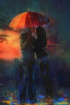 besos bajo la lluvia ... kissing in the rain