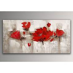 Coquelicots rouges tableau floral modern peint à la main sur toile avec chassis