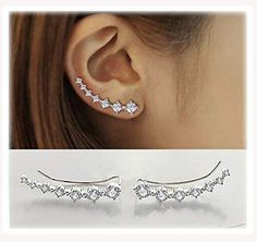 7 Crystals Ear Cuffs Hoop Climber S925 Sterling Silver Cartilage Earrings with Cubic Zirconia Piercing CZ Hypoallergenic Earring for Women