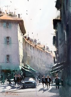 Joseph Zbukvic : is one of the finest master watercolor painters in the world; his watercolor painting instruction workshops sell out w. Watercolor City, Watercolor Artists, Watercolor Landscape, Watercolor Paintings, Watercolours, Urban Landscape, Landscape Art, Landscape Paintings, Landscapes