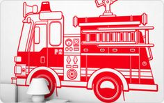 Kids Room Decoration with Firefighters Cars Giant Wall Stickers from Studio E-glue