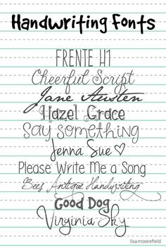 Free Handwriting Fonts | Lisa Moorefield