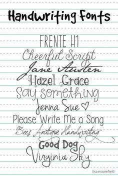 Free Handwriting Fonts   Lisa Moorefield