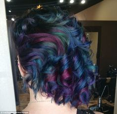 Unique Hair Color For Dark Hair. The effect varies in its intensity, and is also known as 'petrol' or 'duck feather' hair.