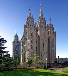 Salt Lake Temple is the centerpiece of the 10 acre (40,000 m2) Temple Square in Salt Lake City, Utah.
