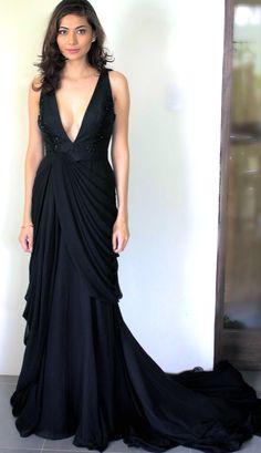 Black Draped Dress - nice shape
