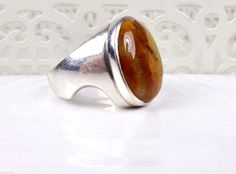 Sterling Silver Jasper Sculpted Band Unique Unisex Bold Modernist Size 9 Ring #Unknown