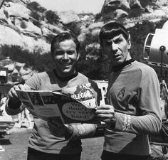 Kirk and Spock reading Mad Magazine