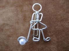 GOLFING LADY brooch wirework by chatnoir77 on Etsy, $14.00