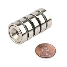 cool Neodymium Pot Magnets - Bulk Pack of 5 pc- 20+ LB Strength - Countersunk Hole with Mounting Screws Copper Nickel, Rare Earth Magnets, Neodymium Magnets, Strength, Packing, Wedding Rings, Engagement Rings, Pure Products, Jewelry
