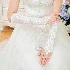 Ivory White Tulle Lace Fingerless Elbow Length Wedding Bridal Gloves SKU-11201096