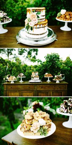 Rustic wedding dessert buffet with caramel drip naked cake | Bianca Kate Photography