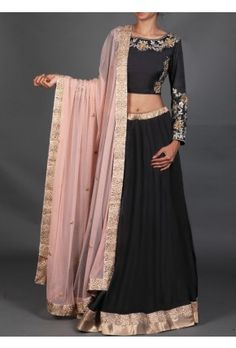 Lashkaraa Black and Light Pink Embroidered Lehenga