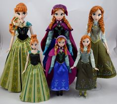 Limited Edition Anna 17'' Dolls vs 12'' Anna Dolls - 2013-2015 - Disney Store Purchases - Full Front View