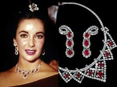 Given to E. by her third husband, Mike Todd. He gifted her this Cartier ruby and diamond parure by a swimming pool of his then pregnant wife. There is footage of this presentation on You Tube. So sweet.