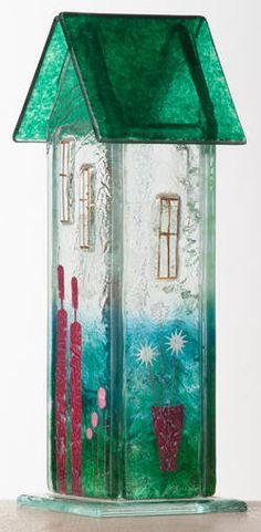 Møllehusets Glas: 50 - blågrøn hus 22 cm