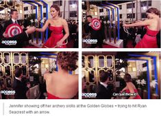 Jennifer showing her archery skills in Access Hollywoood Interview and at the same time throwing an arrow at Seacrest!!