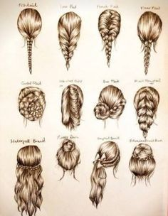 I found this image in tumblr and you can check it out on the profile below. It was popular and I thought I would post it here. It is just a simple drawing of some very lovely hair styles. I am sorry I do not have instructions for these specific styles, bu