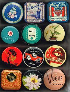Even More Typewriter Ribbon Tins Vintage Office, Vintage Tins, Vintage Ephemera, Vintage Design, Retro Design, Design Design, Interior Design, Kelly Wearstler, Tin Can Alley