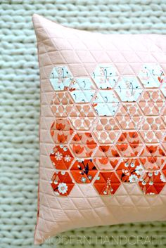 Pillow by Modern Handcraft in Foxglove fabric by Aneela Hoey. Pattern coming soon.
