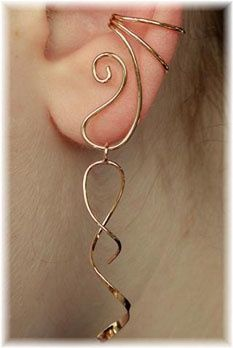 Wire ear wrap. (I want to make twisted wires like this but the link doesn't go here.)