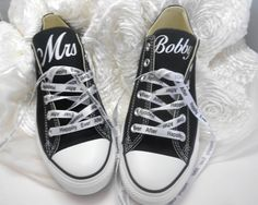 Custom #Wedding Converse LowBlackTongues + Happily Laces by NoOrdinaryBling