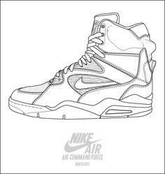 Nike air command force basketball shoes coloring pages - Enjoy Coloring