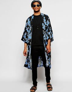 Kimono jacket for men Fashion Moda, Mens Fashion, Fashion Outfits, Fashion Trends, Style Fashion, Fashion Fabric, Kimono Fashion, Male Kimono, Kimono Jacket