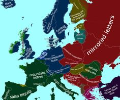 The map above is a humours look at how the Dutch view other European languages. Of course Dutch itself is view as the best language, with English being their second language. Dutch Language, First Language, Mirror Letters, Southern Signs, Dutch People, European Languages, Memes In Real Life, Memes Funny Faces, History Memes