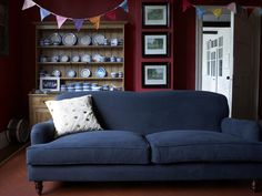 Nice The Snowdrop Three Seat Sofa In Midnight Blue Brushed Linen Cotton, £1,390