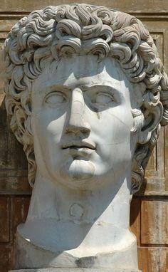 Augustus, head of (colossal) Roman statue (marble), 1st century AD, (Musei Vaticani, Vatican City).