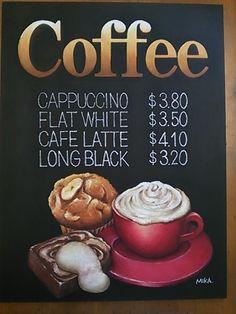 Coffee Chalkboard, Coffee Menu, Chalkboard Art, Coffee Cafe, My Coffee, Hot Chocolate Bars, Chocolate Coffee, Chalk It Up, Chalk Art