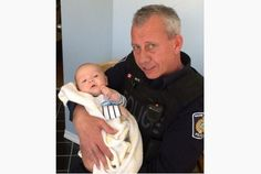 Const. Rick Buys of Halton Regional Police and the newborn, Evan, he saved from peril.