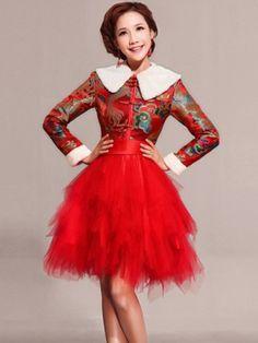 Long Sleeve Tiered Qipao / Cheongsam / Chinese Wedding / Evening Dress