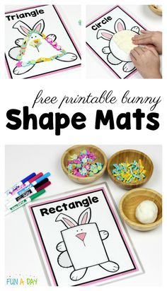 Love these free printable bunny shape mats! They're perfect for preschool Easter activities or when the kids are learning about rabbits. And great for the preschool math center. Easter Activities For Preschool, Free Preschool, Preschool Printables, Spring Activities, Preschool Activities, Shape Worksheets For Preschool, Shape Activities, Shapes Worksheets, Free Printables
