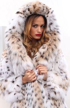 Cat Lynx Fur Hooded Coat